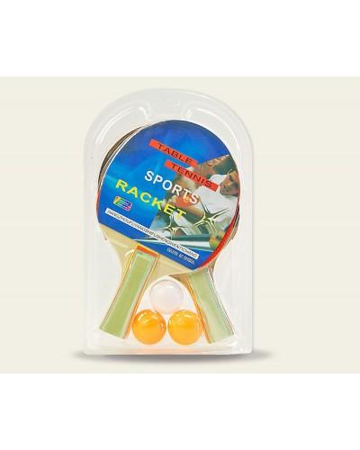 Теннис настольный PP0107 2 ракетки, 3 мяча, 7мм, в слюде 25*15 см