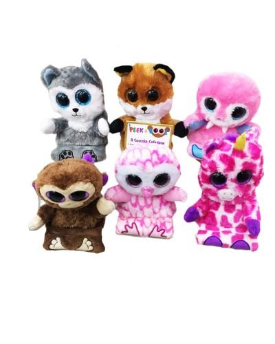 Мягк.игрушка CLR108  6 видов зверюшек, подставка под телефон, размер (12*12см), в пакете