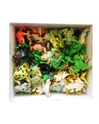 Животные резиновые W6328-271-276  лягушки, микс видов, 5*7 см, 54шт в дисп.боксе 22*20*7см