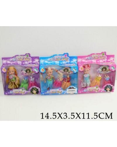 Кукла маленькая T2066A-1/-3 3 вида, с одеждой, в кор. 14,5*3,5*11,5*см
