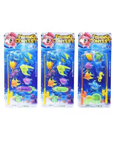 Рыбалка 255-50/255-51 магнит удочка, 2 вида, рыбки, на планшетке 58,5**26 см
