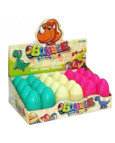 Мыльные пузыри 1080 (24шт) яйца динозавры, 3 цвета, в боксе 8*26*17см