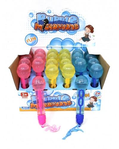Мыльные пузыри 9850 микрофон, 3 цвета, 24 штуки в боксе