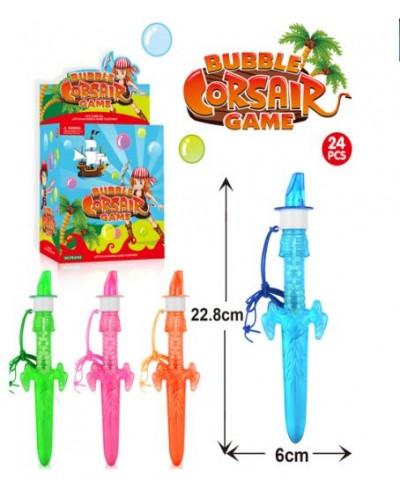 Мыльные пузыри P6-0104 (24шт) меч, 4 вида, бан. 6*22,8см, в боксе