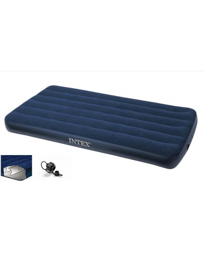 Кровать велюр 68757  син. 99*191*22 см, (без насоса), в кор. Intex