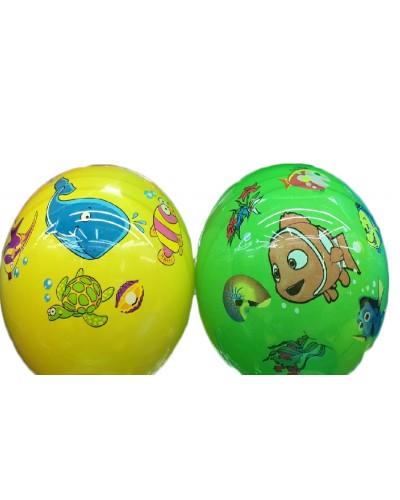 """Мяч резиновый CL12-14 """"Морские животные"""" 9"""", 70грамм,  4 цвета"""