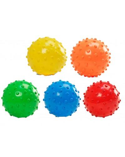 Мяч M01133 цвет ассорти, с шипами, резиновый,15см 70г