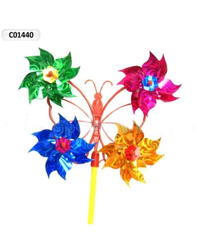 Ветрячок C01440  голограмма, с 4-мя цветками, 29*50см
