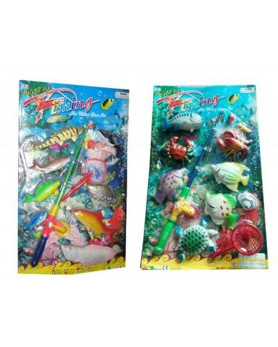 Рыбалка 6925/6927 магнит., 2 вида микс, удочка, рыбки, на планшетке