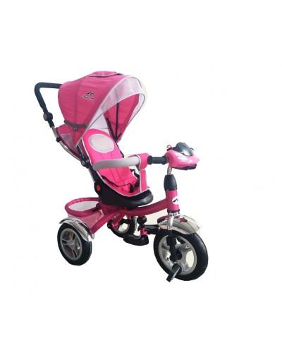 Велосипед 3-х колес TR011 РОЗ складной козырек, поворт сидения, надувные колеса 12' и 10'