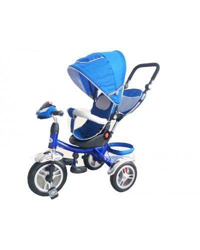 Велосипед 3-х колес TR012 СИН складной козырек, поворт сидения, надувные колеса 12' и 10'
