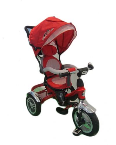 Велосипед 3-х колес TR17004 КР складной козырек, надувные колеса 12' и 10'