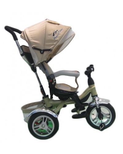 Велосипед 3-х колес TR17006 БЕЖ складной козырек, надувные колеса 12' и 10'