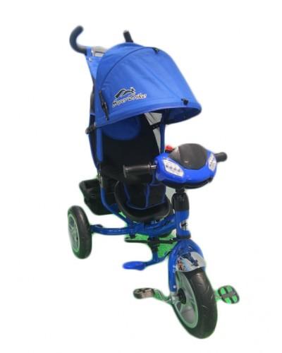 Велосипед 3-х колес TR17013 СИН  складной козырек,надувные колеса 12' и 10'