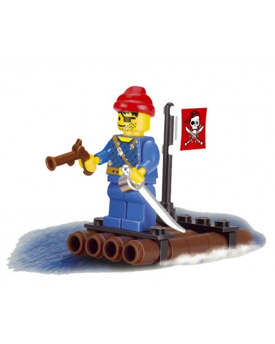 """Конструктор """"Brick"""" 1201 """"Пираты"""" плот, 1человечек, 34 детали, в кор.7*7*4,5 см"""