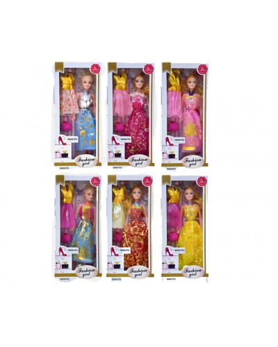 "Кукла типа ""Барби 215B с  одеждой в наборе, 4 вида микс, в кор.32*14*4,5 см"