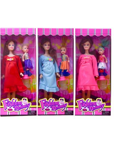 """Кукла """"Беременная"""" 6109 3 вида, с куколкой, аксесс, в кор.32*13*5см"""