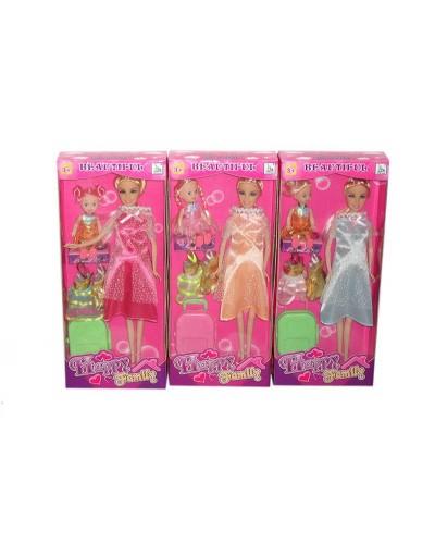 """Кукла типа Барби """"Беременная"""" 116-17 3 вида,с куколкой,платьями,чемоданом в кор.14*5,5*32см"""