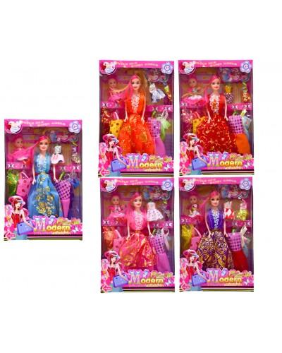 Кукла 8892A  5 видов, куколка, набор платьев, аксесс, в кор.21,5*22,5*5см