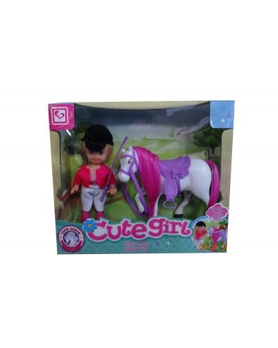 """Кукла маленькая K899-12A """"Наездница"""",с лошадью,в кор."""