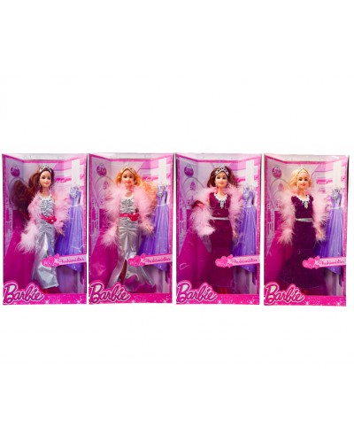 """Кукла типа """"Барби"""" 8655C-78AA 4 вида, в вечернем платье, с боа, в кор.33*6,5*18,5см"""