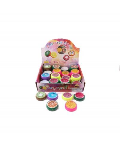 """Лизун 555-1 """"фрукты"""" в коробочке , 48 шт в боксе 18*17*4,5 см, цена за дисплей"""