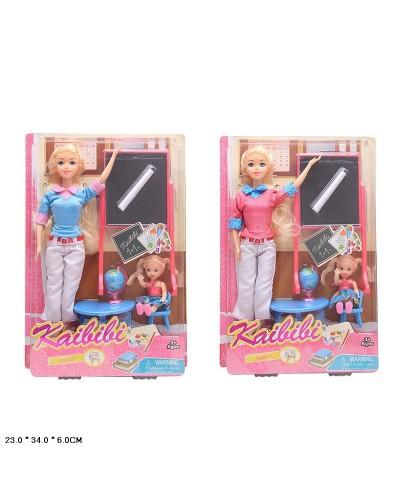 "Кукла типа ""Барби""Учитель"" BLD130 2 вида,куколка, парта, доска, мел, глобус,кор.23*6*34см"
