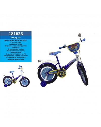 Велосипед 2-х колес 16'' 181623 (1шт) со звонком,зеркалом,руч.тормоз