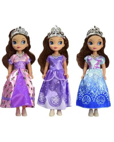 """Кукла """"S"""" BL81-3 3 вида, 25см, с короной, ожерельем в пак. 34*13,5см"""