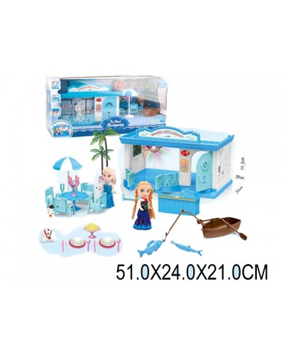 "Кукла ""F"" PT1040 свет-муз, Анна и Эльза в наборе, Олаф, мебель, лодка…,кор51х21х24см"