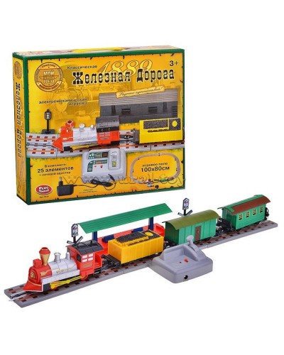 Железная дорога 0625 электро-механ., от сети,  25элементов + адаптор, в коробке 39*36*7см