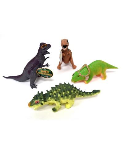 Животные резиновые 7211  Динозавры, 6 видов, 12 шт в боксе 27*15*8,5см, игрушка-18см  цена за шт