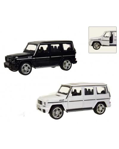 Машина металл M923K-6  1:24, MERCEDES-BENZ G, белый, черный, свет, звук, в кор.25*11*11 см