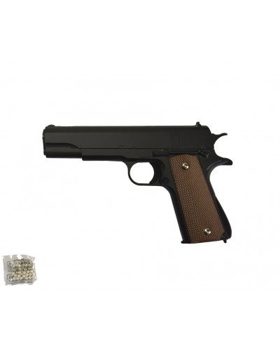 Пистолет метал.пластик G.13  с пульками в коробке 22*14,5*3,5см