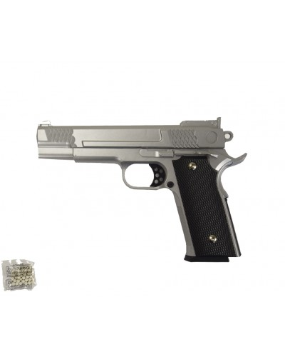 Пистолет метал.пластик G.20S с пульками в коробке 20*15*3см
