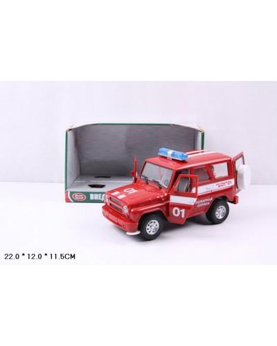 "Машина батар 9076-E ""Пожарная охрана"", звук, свет, в кор. 18*8см"