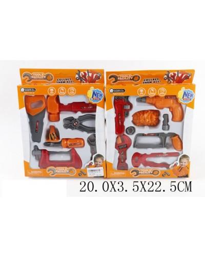Набор инструментов 36778-44  2вида, пила, молоток и др., в коробке 20*3,5*22,5см