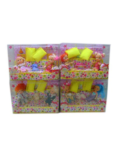 Кукла маленькая 8818-1 2 в наборе с кроваткой, 4 вида микс, в кор.20*14*7 см
