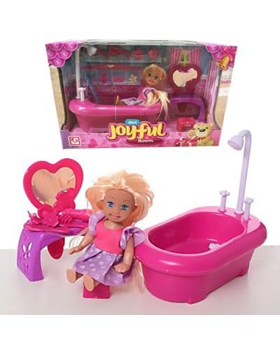 Кукла маленькая K899-78  ванная, трюмо, стульчик, в кор.24*15*19см