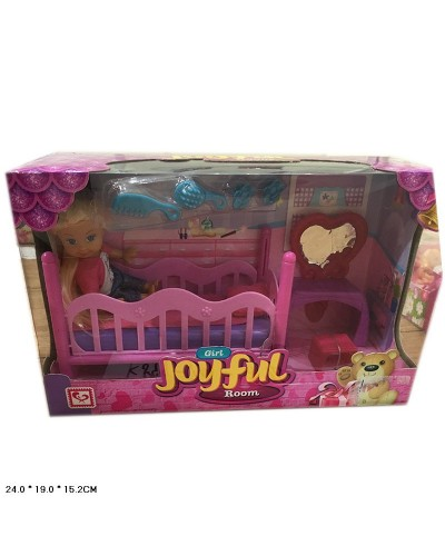 Кукла маленькая K899-79  кровать, трюмо, стульчик, расчески, заколки в кор.24*15*19см