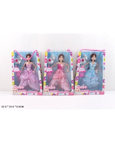 """Кукла типа """"Барби"""" FB027  3 вида, в бальном платье, с диадемой, в кор.32*23*6см"""