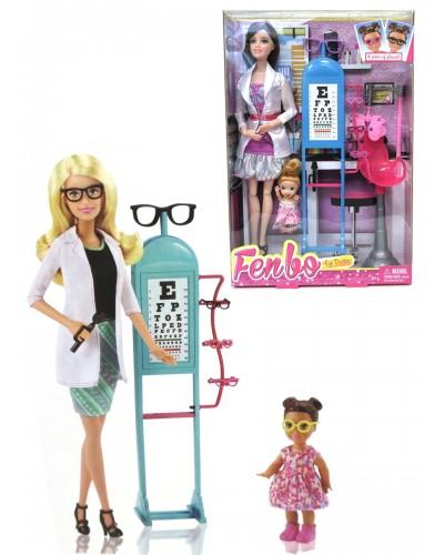 """Кукла типа """"Барби""""Окулист"""" FB045  2 вида, шарнирная, с куколкой, мед аксесс, в кор.33*6*22см"""