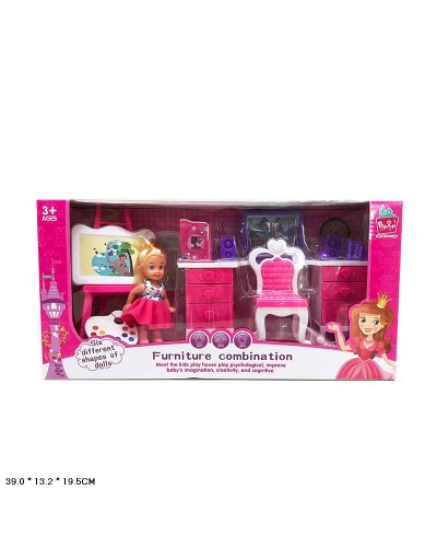 Кукла маленькая 5988-6  стол. стул, компьютев, мальберт в кор.39*13,2*19,5 см