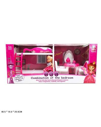 Кукла маленькая 5988-7  2-х эт.кровать, трюмо, кресла, аксес. в кор.46,5*16*20 см