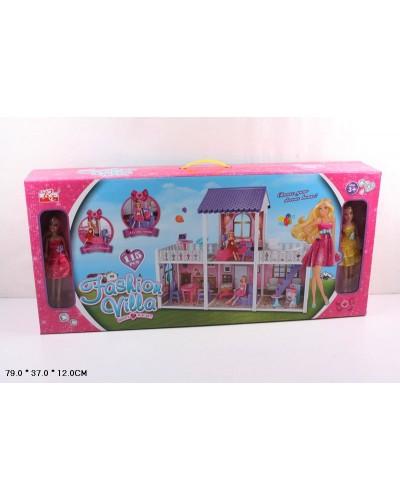 Домик 972  2 этажа, кукла, диван, кровать, тумбы, лампа, тв, балкон, стир.маш аксес, в кор.79*37*12
