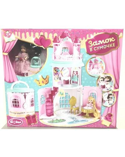 Домик QL050-2  с куколкой, трансформ. в сумочку,мебель, аксес, в кор.38*19*38 см