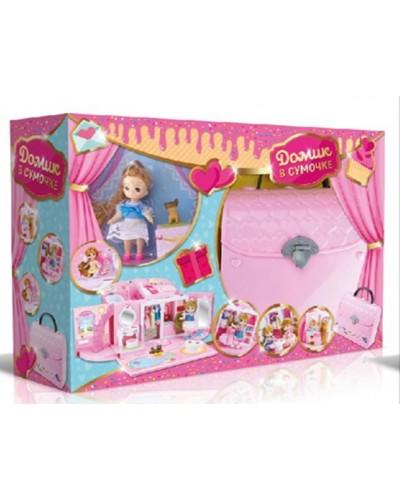 Домик QL051-2  с куколкой, трансформ. в сумочку ,мебель, аксес,в кор.47*13*32 см