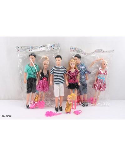 "Кукла типа ""Барби""Семья"" DD-011 3вида ,мама+папа, ребенок, аксесс, в пак.30см"