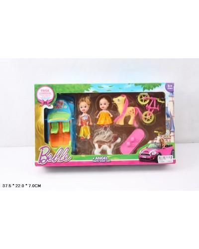 Кукла маленькая 012-1A  с куколкой, машинкой, велосипедом, пони, собачкой, в кор. 37,5*22*7с