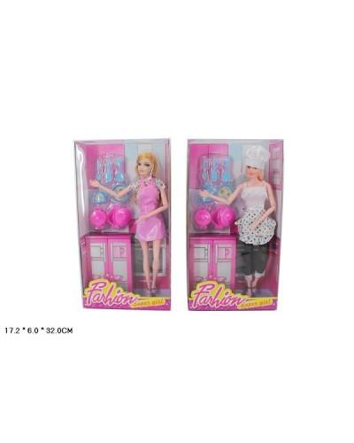 "Кукла типа ""Барби""Повар"" 819-1 2 вида, с фартушком, посудкой в кор.17*6*32см"